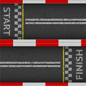 Finish Line Racing Background Top View. Start Or Finish On Kart Race. Grunge Textured On The Asphalt poster