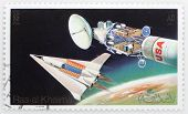 RAS AL KHAIMA - CIRCA 1982: A stamp printed in The Ras Al Khaima shows The Space Shuttle with Space