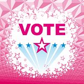 Vector Election pink background with vote text and stars