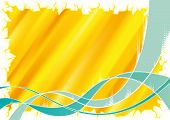 Abstract green wave with yellow Background and ice border