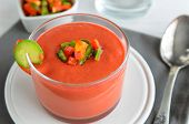 Gazpacho, Tomato Cold Soup Made From Raw Blended Vegetables. Traditional Spanish Cold Soup In Glass  poster