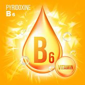 Vitamin B6 Pyridoxine Vector. Vitamin Gold Oil Drop Icon.organic Gold Droplet Icon. For Beauty, Cosm poster