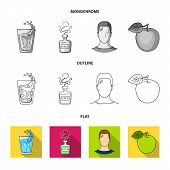 A Glass Of Water, A Bottle Of Alcohol, A Sweating Man, An Apple. Diabeth Set Collection Icons In Fla poster