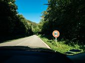 New French 80kmph Speed Limit Sing Seen On A Public Road In Forest. As Of July 1, 2018 The Speed Lim poster