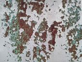 Weathered Rusty Metal Texture. Grungy Iron Surface With Old Speckled Paint. poster