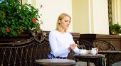 Enjoy My Coffee. Woman Elegant Calm Face Have Drink Cafe Terrace Outdoors. Girl Drink Coffee Every M poster