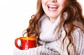 Woman Wearing Warm Clothing Grey Sweater Holding Nice Red Mug Of Warm Beverage Tea Or Coffee, Isolat poster
