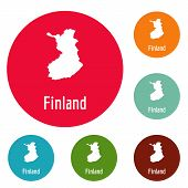 Finland Map In Black. Simple Illustration Of Finland Map Isolated On White Background poster