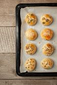 The Homemade Bread Rolls With Sesame Seeds Hamburger With Sesame, Pumpkin, Flax, Sunflower Seeds On  poster