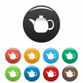 Steel Teapot Icon. Simple Illustration Of Steel Teapot Icons Set Color Isolated On White poster