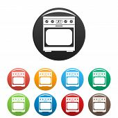 Domestic Gas Oven Icon. Simple Illustration Of Domestic Gas Oven Icons Set Color Isolated On White poster