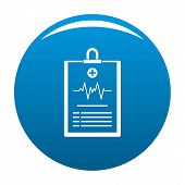 Cardiogram On Tablet Icon. Simple Illustration Of Cardiogram On Tablet Icon For Any Design Blue poster