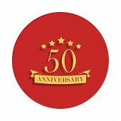 50 Anniversary Sign. Element Of Anniversary Sign. Premium Quality Graphic Design Icon In Badge Style poster