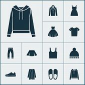 Clothes Icons Set With Gumshoes, Clothes, Skirt And Other Jeans Elements. Isolated  Illustration Clo poster