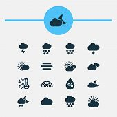 Weather Icons Set With Rainbow, Light Snow Shower, Heavy Rain And Other Haze Elements. Isolated  Ill poster
