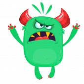 Angry Cartoon Green Monster Screaming. Yelling Angry Monster Expression. Halloween Vector Illustrati poster