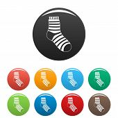 Fuzzy Sock Icon. Simple Illustration Of Fuzzy Sock Icons Set Color Isolated On White poster
