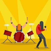 Rock Band At Concert Icon. Flat Illustration Of Rock Band At Concert Icon For Web Design poster