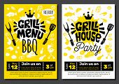 Grill Menu Gill House Party Time Bbq Food Poster. Grilled Food, Meat Fish Vegetables Grill Appliance poster