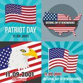 Patriot Day September Memorial Banner Concept Set. Flat Illustration Of 4 Patriot Day September Memo poster
