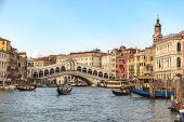 Venice Skyline At Venice Grand Canal And Rialto Bridge, Venice Italy poster