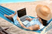 Young Woman With Laptop Resting In Hammock At Seaside poster