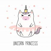 Hand Drawn Vector Illustration Of A Kawaii Funny Fat Princess Unicorn, In A Crown, Ballet Tutu, With poster