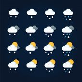 Weather Icons Sun And Clouds In Summer Sky, Rain With Snow In Winter Sky. Flat Vector Icon Weather A poster