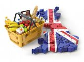 Market basket or consumer price index in UK Great Britain. Shopping basket with foods on the map of  poster