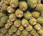 Ananas Pineapple Fruit In The Market. Food Background Texture. poster
