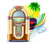 stock photo of dick  - Vector illustration of funky summer music background with palm trees jukeboxe vinyle dick hibiscus flowers surfboard and yellow sun - JPG