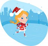 Little girl on the skates in christmas costume