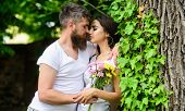 Gentle Kiss. Man Bearded Hipster Hugs Gorgeous Girlfriend. Couple In Love Going To Kiss. Pleasant Ro poster
