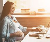 Young Smiling Pregnant Woman Using Laptop At Home And Holding One Hand On Belly. Young Freelancing M poster
