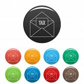 Tax Email Icon. Outline Illustration Of Tax Email Icons Set Color Isolated On White poster