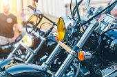 Motorcycle On The Street Close Up On Summer Day poster