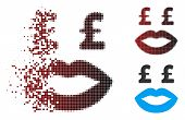 Vector Pound Prostitution Smiley Icon In Dissolved, Dotted Halftone And Undamaged Entire Variants. D poster