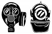 Gas mask and deep diver's helmet