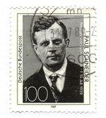 Deutschland um 1989: Briefmarke gedruckt in Deutschland, zeigt Porträt Pfarrer Paul Schneider, um 1989