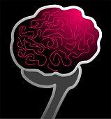stock photo of temporal lobe  - Illustration of human brain in black background - JPG