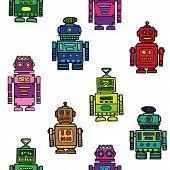 Seamless vintage toy robots pattern