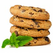 Chocolate Cookies With Mint Leaves