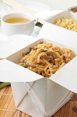 picture of lo mein  - Beef lo mein and fried rice in take out containers - JPG