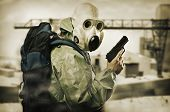 stock photo of handgun  - Post apocalypses world halloween concept - JPG
