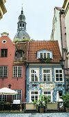 Medieval buildings in the old city of Riga - capital of Latvian Republic, Europe