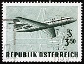 Postage stamp Austria 1968 Twin-engine Jet Airliner