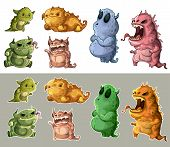 Six isolated colored monsters