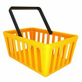 Empty yellow shopping basket