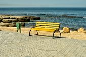 Empty wooden bench at the seaside