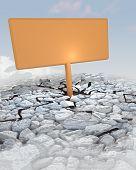 Orange Advertisement Board Stuck In Rocky Ground